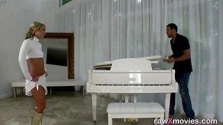 Married woman fucks handyman on the piano