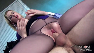 Doctors Orders - fetish hardcore with busty blonde mom in stockings and hairy pussy riding dick