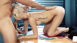 Blonde Arya Fae sucking the hard cock on the desk
