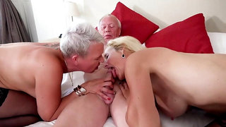 Grandpa fucks 2 Mature Women