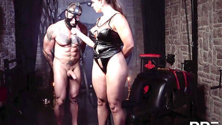 Fake titted brunette domina Marta Lacroft - brutal femdom with bondage and whipping