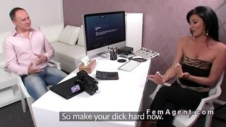 Busty female agent sucks small dick in casting