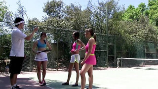 Tennis instructor gets cock blown while two babes hold him still