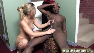 White girl Katie Thomas fucks a black man and swallows his load