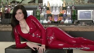 Lilly - Red Latex Sleeved Catsuit