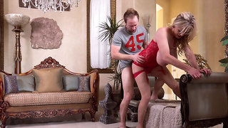 Milf in sexy dress Kelly madison plowed by husband