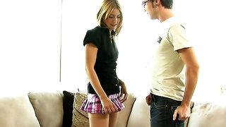 Tiny skirt teen Elli Foxx sucks a dick