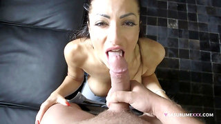 Priscilla Salerno's talented mouth works on a cock, POV style