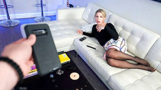 Awesome nerdy hottie Ashley Fires gives a beautiful blowjob