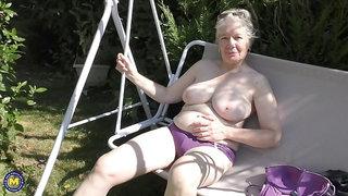 British mature lady playing outside