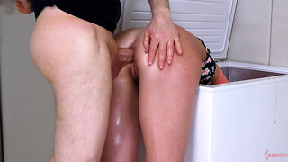 Leah Winters gets brutal ass fucking and ATM in freezer