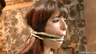Busty slave is toyed in suspension - Nina Lopez squirting in bondage
