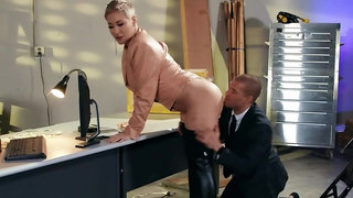 Guy comes to buxom boss' office to fuck horny butted bitch