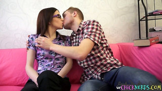 Strict nerdy chick taking her pupils cock