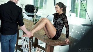 Long legged flexible gal with natural tits Tina Kay gives a really great footjob