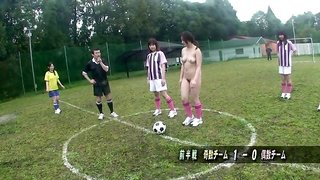 Asian cutie comes to the football field to get gangbanged