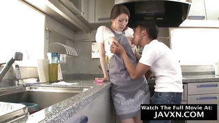 Japanese housewife is moaning while getting nailed in the kitchen, because she is about to cum