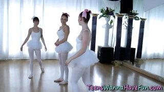 Teen ballerinas ride dong