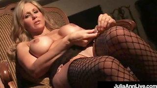 Gorgeous Cougar Julia Ann Finger Fucks In Sexy Stockings!