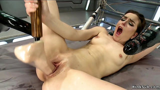 Wet twat stuffed with dicks and machines