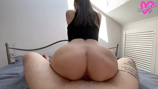 Sexy Brunette Hard Fucking after Waking Up - Creampie