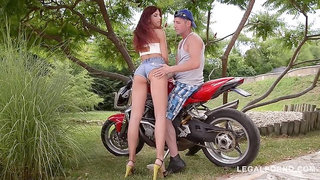 Horny Redhead Shona River needs her shaved pussy filled with biker's dick GP335