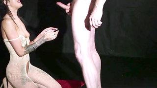 Handcuffed British babe blowing dick