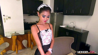 Svelte real Asian maid Natasha just flashes ass and fucks doggy