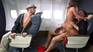 Passenger fucks flight attendant with big hooters hard