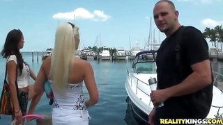 Amazing bitches on the yacht want to have fun with captain