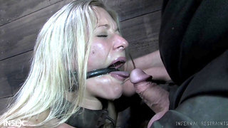 Poor submissive beautiful blonde babe Dia Zerva is handcuffed and sucks cock