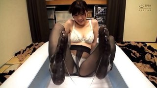 Sensual Japanese girl in pantyhose loves to tease and please