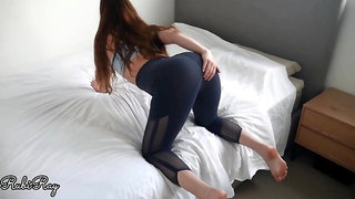 Fleshy black-haired chisel teaser lets a stud masturbate off and jism in her yoga trousers