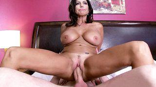 Horny mom Tara Holiday rides his thick hard cock in her bed