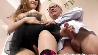 Young british ballerina sucks old man cock