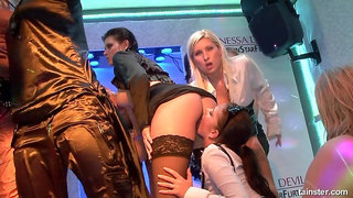 Crazy drunk girls hot sex action in the club