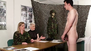 Sally Cream with Holly Kiss jerks off the guy while interviewing him for army recruitment