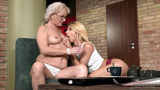 Granny likes sharing her passion for pussy with her lesbian niece