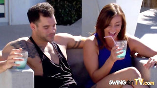 Swingers arrive in a limousine to experience the sexiest reality TV show