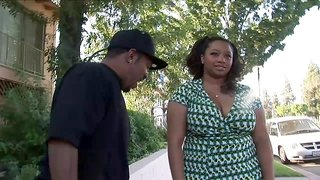 Black BBW out for a walk meets a guy and ends up fucking him