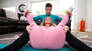 Sensual blonde with big bottom Casca Akashova jumps on a big boner