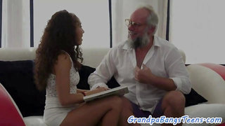 Teen girl pounded from behind by grandpa