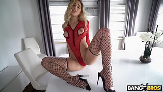 Astonishing babe with a nice, round ass is wearing black fishnets while getting a good fuck