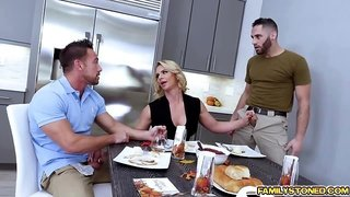 Phoenix Marie double team by two loaded cocks getting sandwich in the middle