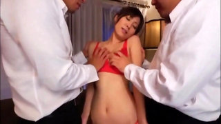 Two lads penetrate a slim Asian babe hard