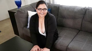 Exciting BBW with giant boobs Karla Lane jumps on a big cock