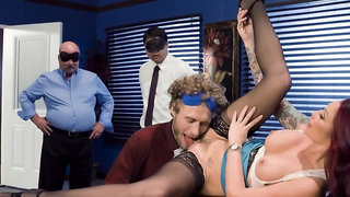 Voluptuous female boss carefully takes cock of employee in twat
