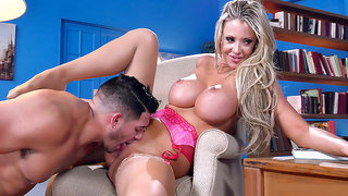 Round breasted Courtney Taylor getting her snatch eaten in the library