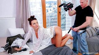 Busty Czech babe Vanessa Decker gets cum covered in hot photo shoot fuck