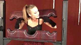 Provocative blonde gets a nice punishment while being in submission